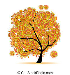 sztuka, drzewo, kaprys, jesień, pora