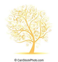 sztuka, drzewo, piękny, czarnoskóry, sylwetka