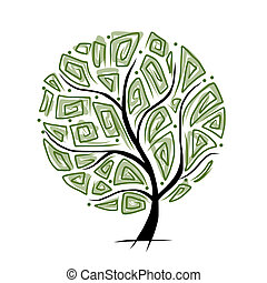 sztuka, drzewo, piękny, dla, twój, projektować