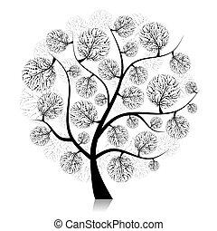 sztuka, drzewo, projektować, sylwetka, biały, twój