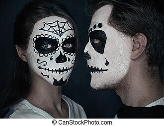 sztuka, halloween, para, miłość, twarz