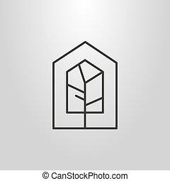 sztuka, house-shape, prosty, symbol, drzewo, wektor, geometryczna lina, ułożyć
