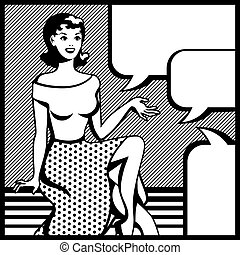 sztuka, hukiem, ilustracja, dziewczyna, style., retro