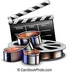 sztuka, illustration., kino, film, afisz, wektor, online, design.