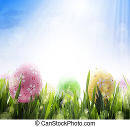 sztuka, jaja, kwiaty, wielkanoc, ozdobny