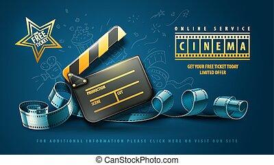sztuka, kino, film, afisz, projektować, online