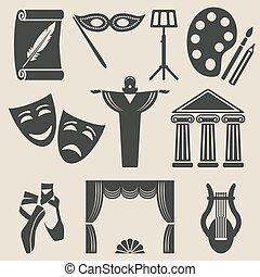 sztuka, komplet, teatr, ikony