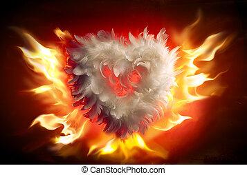 sztuka, miękki, puszysty, serce, (valentine's, dzień,...