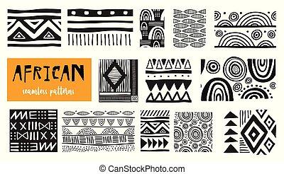 sztuka, nowoczesny, patterns., seamless, zbiór, wektor, afrykanin
