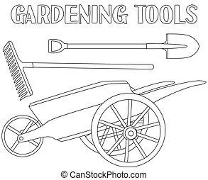 sztuka, ogród, toolls, set., czarnoskóry, kreska, biały, troska