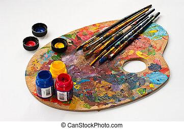 sztuka, paleta, szczotki, i, paints.