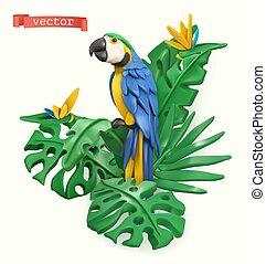 sztuka, papuga, plastelina, wektor, leaves., 3d, tropikalny, objects., concept., lato, ilustracja, czas
