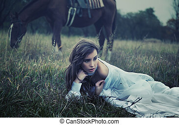 sztuka, piękno, fotografia, młody, trawa, delikatny