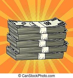 sztuka, pieniądze, dolar, hukiem, retro, stóg