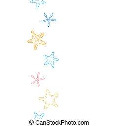 sztuka, pionowy, rozgwiazda modelują, seamless, tło, kreska, barwny