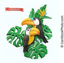 sztuka, plastelina, wektor, leaves., para, 3d, tropikalny, objects., concept., lato, ilustracja, pieprzojady, czas
