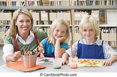 sztuka, posiedzenie, studenci, klasa, przedszkole, nauczyciel