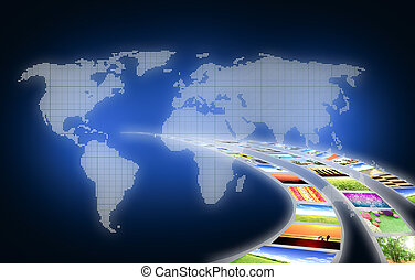sztuka praca, od, podróż, handlowy, z, krajobraz, obraz