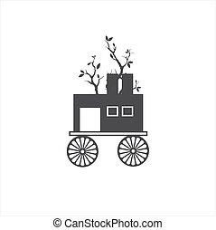 sztuka, rocznik wina, abstrakcyjny, wóz, wektor, ilustracja, logo, artystyczny