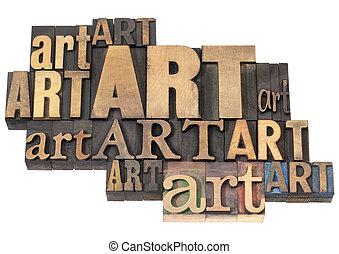sztuka, słowo, abstrakcyjny, w, drewno, typ