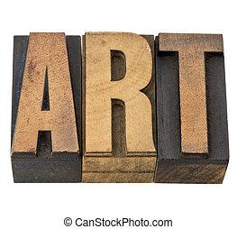 sztuka, słowo, w, drewno, typ