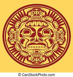 sztuka, stylization, słońce, symbol, wektor,...