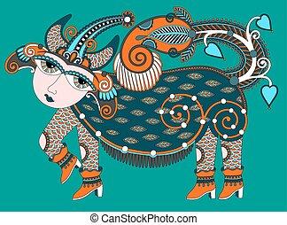 sztuka, ukrainiec, plemienny, karakoko, zwierzę, etniczny, ...
