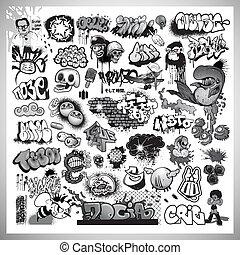 sztuka, ulica, graffiti, elementy