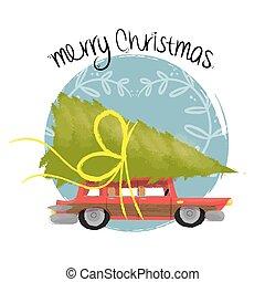 sztuka, wóz, drzewo, sosna, retro, wesołe boże narodzenie