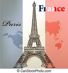 sztuka, wektor, conceptual tło, z, eifel, wieża, i, francja,...