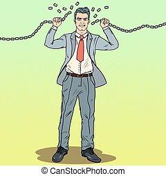 sztuka, work., chains., okiełznuje, twardy, hukiem, wektor, ilustracja, ucieczka, biznesmen, silny