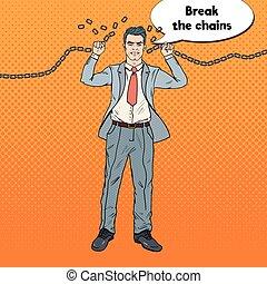 sztuka, work., chains., okiełznuje, twardy, hukiem, wektor, ilustracja, zwolnić, biznesmen, silny