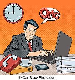 sztuka, work., zmęczony, przygnębiony, pracownik, laptop., ilustracja, spóźniony, hukiem, wektor, stayed, biznesmen
