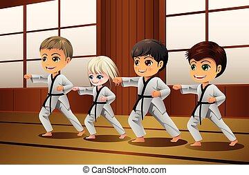 sztuki wojenne, dzieciaki, practicing, dojo