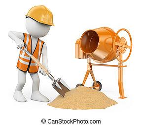 szufelka, konkretny, ludzie., pracownik, odizolowany, mikser, tło., zbudowanie, cement, zrobienie, biały, 3d