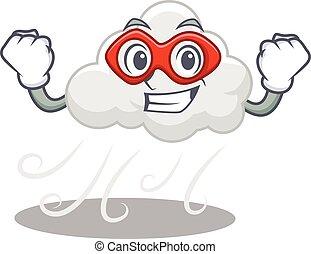 szuper, betű, felhős, szeles, megtesz, hős, karikatúra