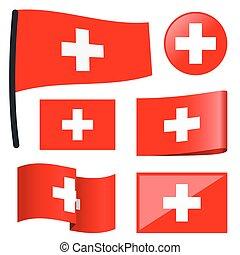 szwajcaria, bandery, zbiór