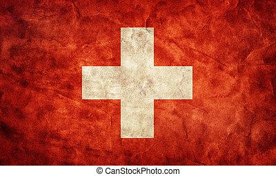 szwajcaria, grunge, flag., pozycja, z, mój, rocznik wina, retro, bandery, zbiór