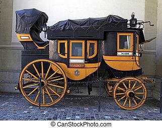 szwajcarski, historyczny, wóz, w, zurych, szwajcaria