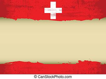 szwajcarski, zdrapany, bandera