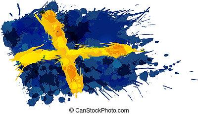 szwecja, robiony, bandera, barwny, plamy