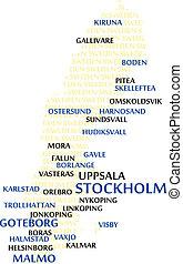 szwecja, słowo, chmura, mapa