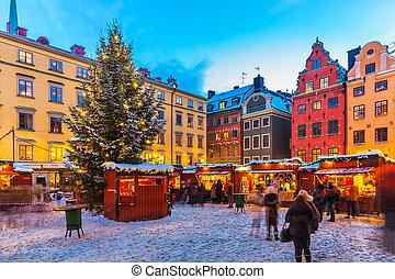 szwecja, sztokholm, jarmark, boże narodzenie