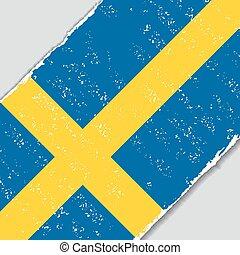 szwedzki, flag., wektor, grunge, illustration.