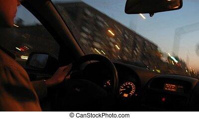 szybki, kierowca, napędowy
