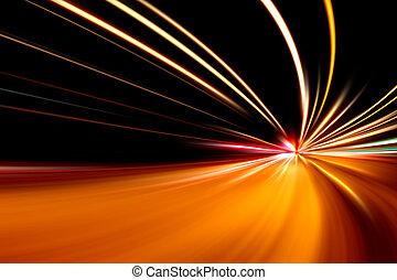szybki, prąd, od, noc, ulica