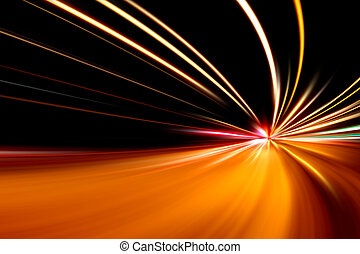 szybki, ulica, prąd, noc