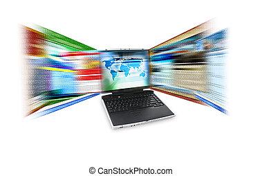 szybkość, laptop, internet