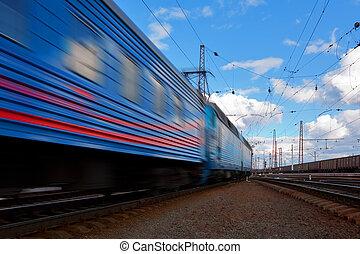 szybkość, pociąg, odjazd