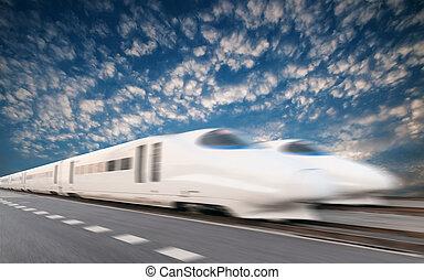 szybkość, pociąg, wysoki
